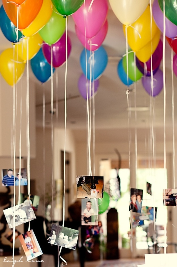 Balloon Chandelier Decorate The Room With Pictures And Written Messages Along It You Can Either Tie Them To Helium Or Make A Collage Hang