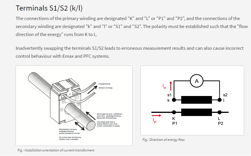 Can you explain about the symbols of K and L on Current Transformer