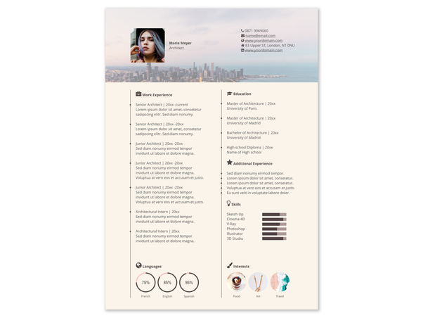 Artistic CV Ideal For A Creative Position Like Designer In Startup Or Any Other Role You Can Quickly Customize The Image On Top And Add