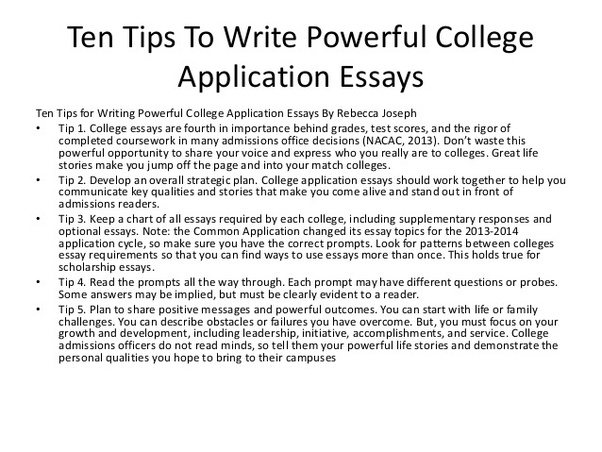 Writing essay for college application university