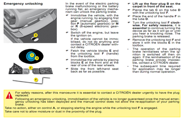 How to disengage an electronic parking brake if the battery is
