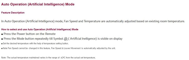 What is the use of the AI (Artificial Intelligence) mode in