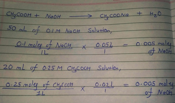 If 50ml 0 1M NaOH solution is added to 20 ml 0 25M CH3COOH solution