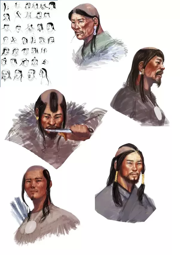 Many Of These Hairstyles Were Used By Other Altaic Nations Too Turkmen Kids With Just Hair On Their Forehead Kazakhs A Single Braid Top