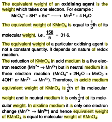 What is the equivalent weight of [math]KMnO_4[/math] in an acidic