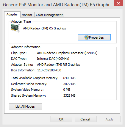 My laptop has an AMD A8-6410 with an integrated Radeon R5