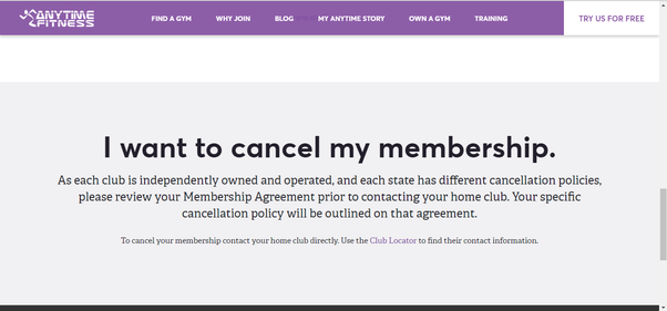 i have no affiliation with anytime fitness but according to their website you must review your membership agreement and contact your home club the one