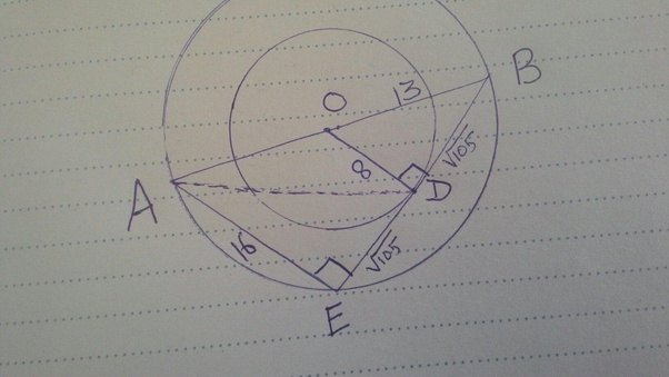 The radius of two concentric circles are 13 cm and 8 cm ab is the the radius of two concentric circles are 13 cm and 8 cm ab is the diameter of the bigger circle and bd is tangent to the smaller circle touching at d and ccuart Gallery