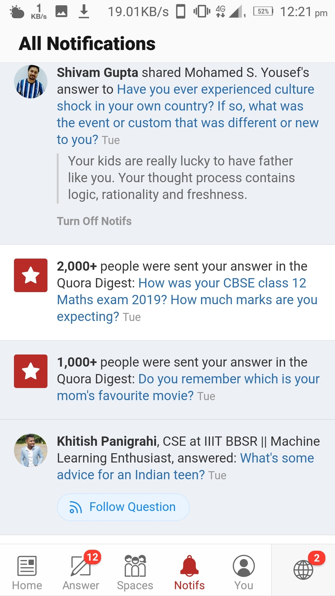 How often are people's answers sent to the Quora digest? - Quora