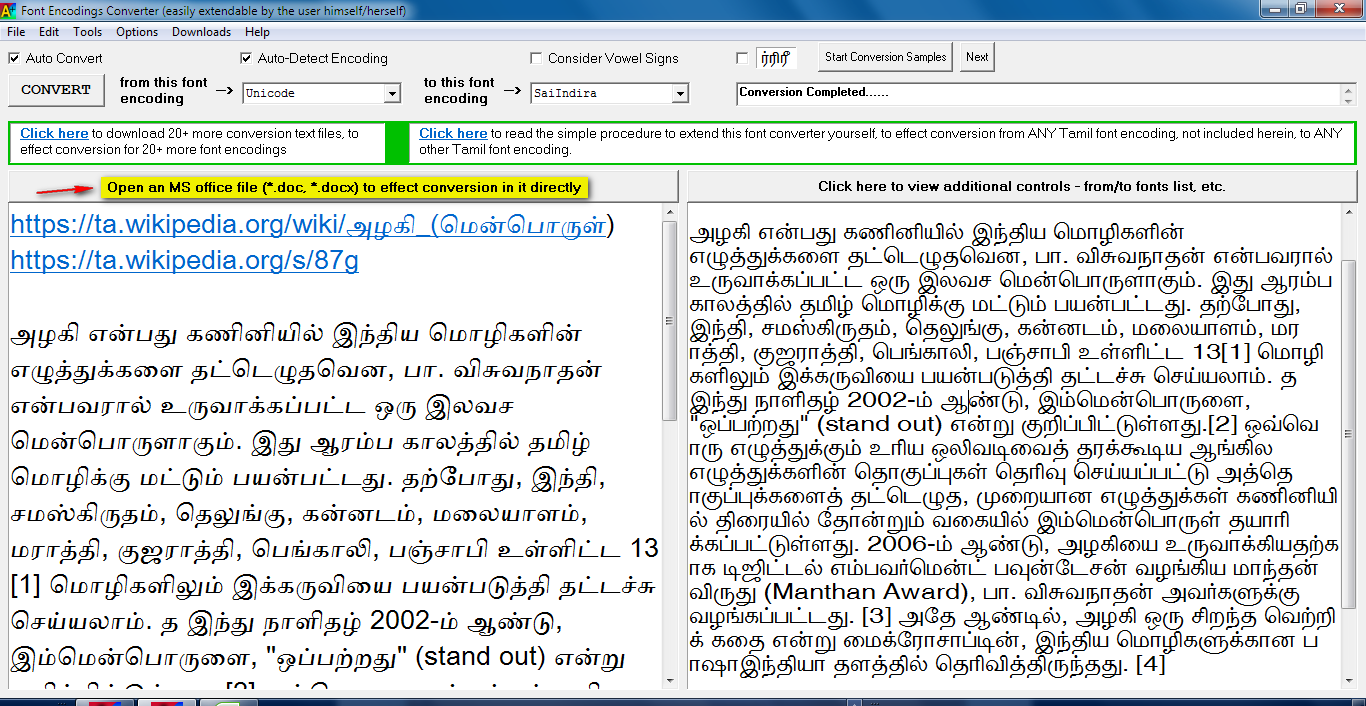 How to convert a document created in the Tamil font (non-Unicode