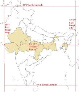What are the 5 states in India through which standard meridians pass ...