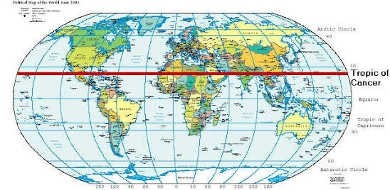 Which countries pass through the Tropic of Cancer? - Quora