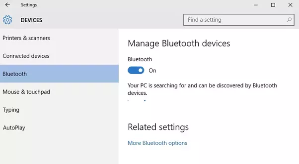 How to connect a bluetooth in windows 10 quora step 2 now turn on bluetooth if it is turned off ccuart Gallery