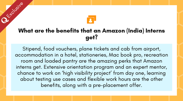 What are the benefits that an Amazon (India) Interns get