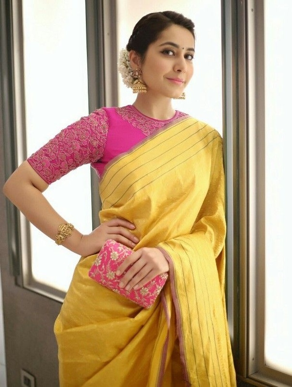 7741bf018efd2 Which colour blouse will suit for a lemon yellow saree  - Quora