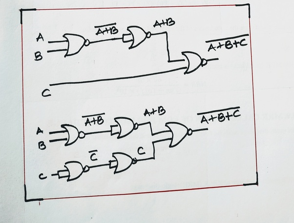 Is It Possible To Make A 3 Input Nand Or Nor Gate With 2 Input Nand Or Nor Gates