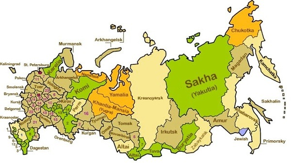 it is still the case however that within the russian federation it is primarily asiatic regions and nations that get special status in the above map