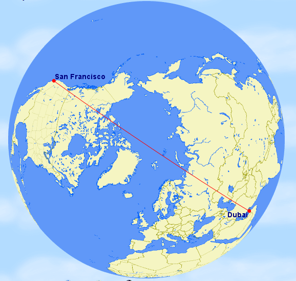 Why does Emirates Airlines fly through the North Pole to reach Dubai Dubai To Houston Emirates Route Map on
