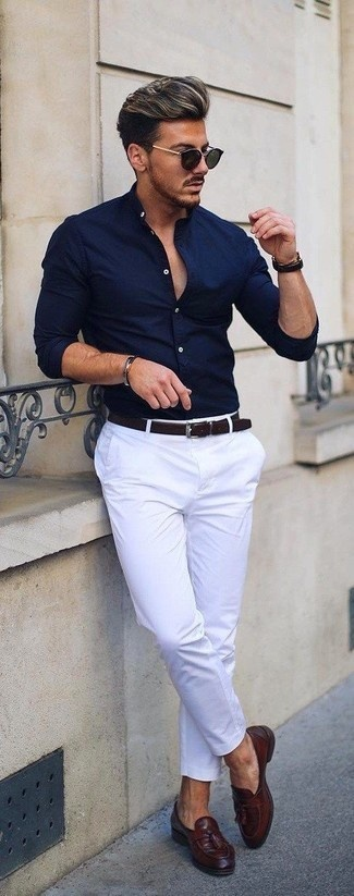 fe9ebabdb9a What color of pants should I wear with a dark blue shirt  - Quora