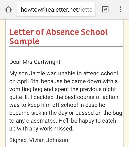 What is a good sample letter to write an absence from school
