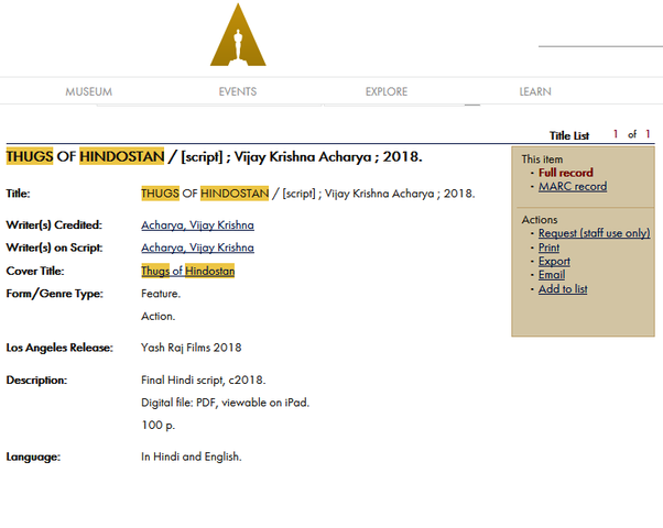 Why was the movie Happy New Year selected for the Oscar