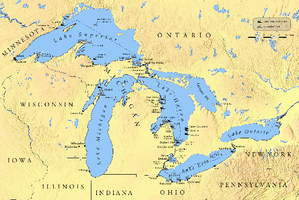 map of the great lakes toronto is on the north shore of lake ontario winnipeg is not shown on the map it is more than 600km northwest of lake superior