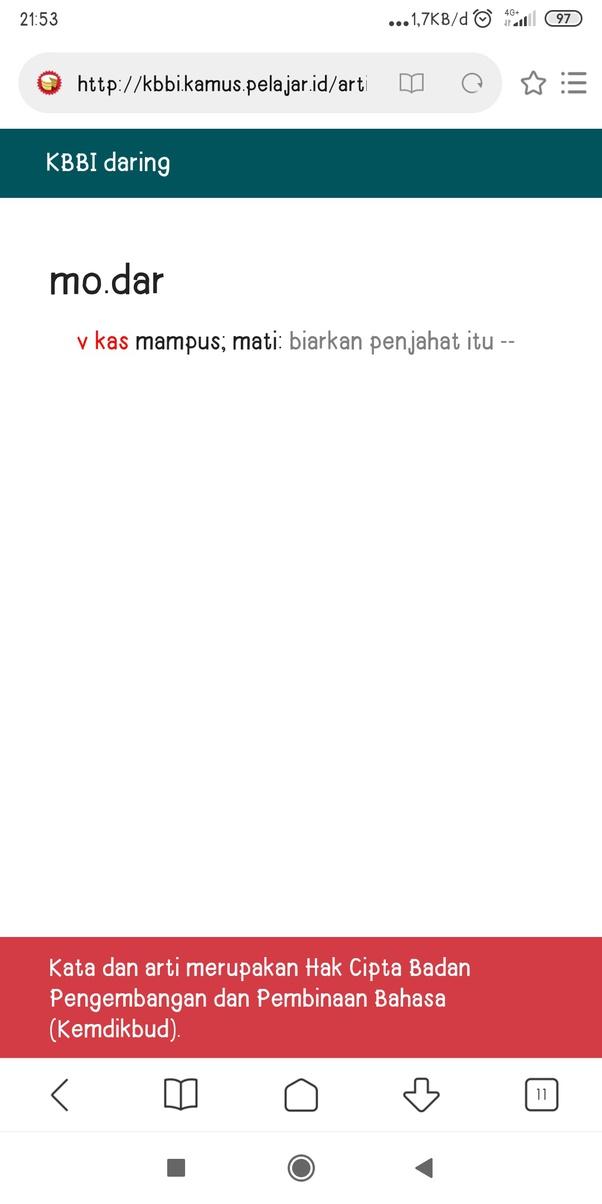Apa Arti Modar Dalam Bahasa Indonesia Quora
