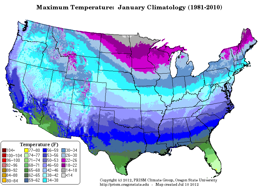 Which US states have the most below freezing temperatures ...