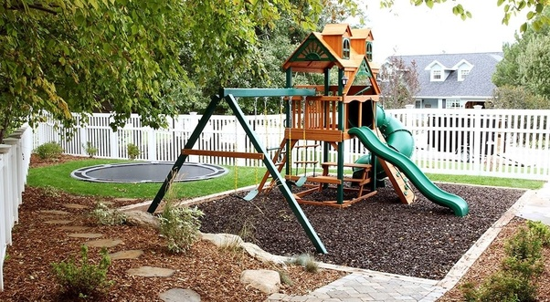 Backyard Play Structure what material would you use for a backyard play area? - quora
