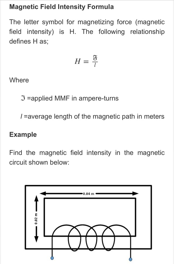 What Is The Dimension Formula Of Magnetic Intensity Quora
