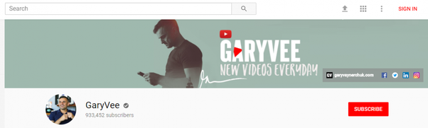 gary vayner chucks youtube channel does a good job of having the most important part of the banner is the safe area ie the middle