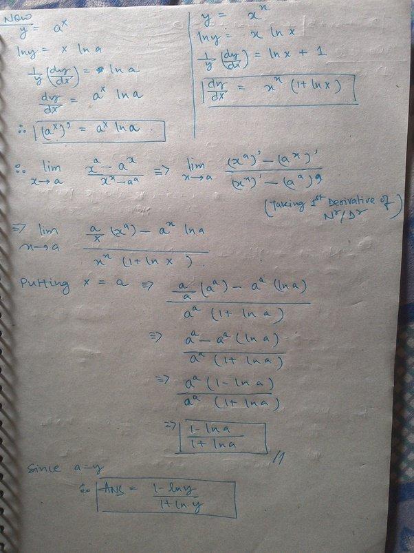 What Is The Limit [math]\lim_{x\to Y}\frac{x^y-y^x}{x^x-y