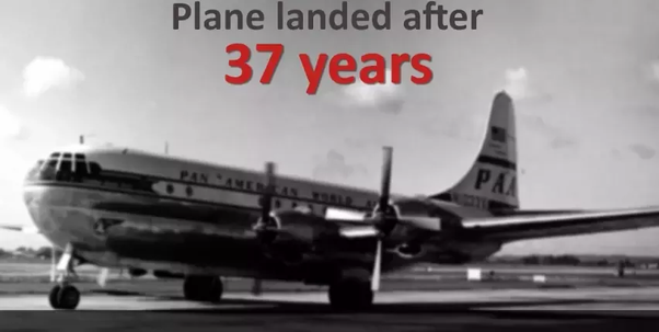 Pan American Flight 914 took off in 1955 but landed after 37