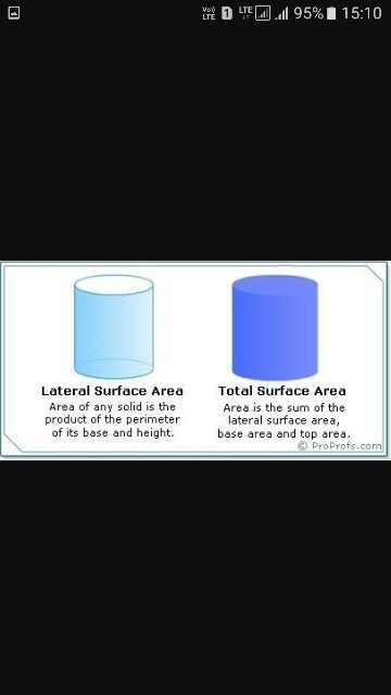 Total area of the surface of a 3d object excluding the bases of dating
