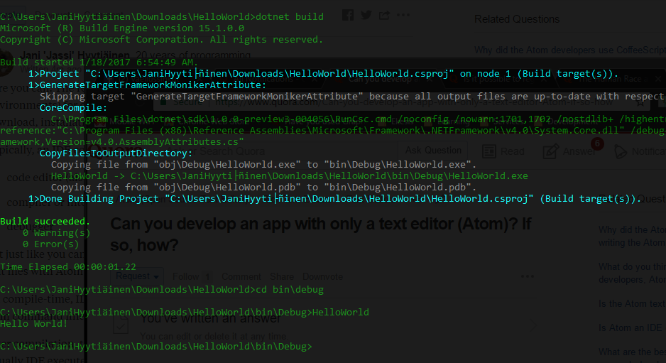 Can you develop a mobile app with only a text editor (Atom