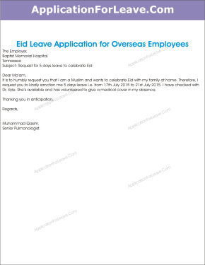 Whats the sample email format for requesting leave for our festival maria eid leave application for overseas employees altavistaventures Image collections