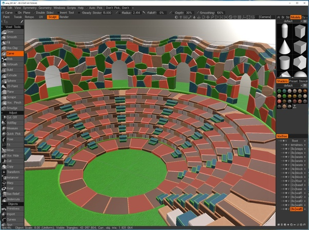 What is good 3D software for sculpting rocks, ruins and similar