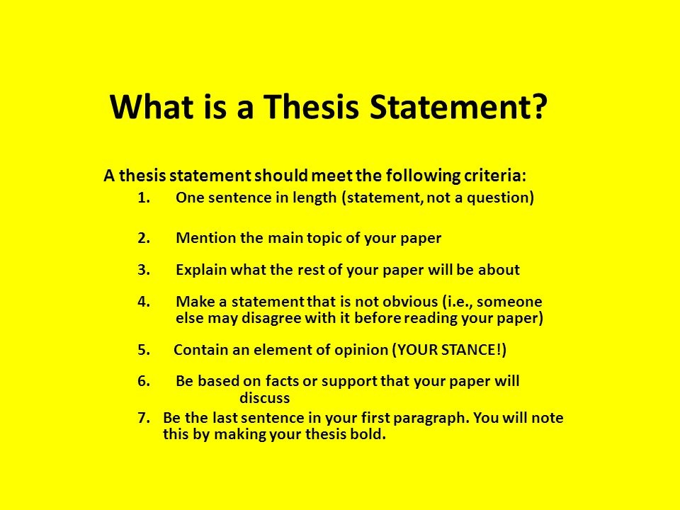 Need help creating a thesis statement