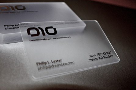 What are some examples of creative and effective business cards dreamten studios these transparent business cards just look plain old awesome and theyd be something id never forget if given one reheart Images