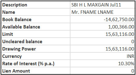 sbi maxgain home loan account statement