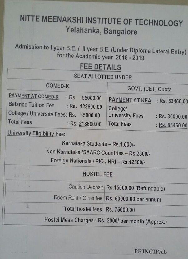 What Is The Fee Structure At Nitte Meenakshi Quora