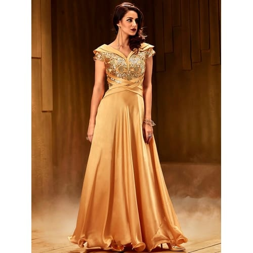 bae99e5e04 A Gown is going to give you a traditional look with a modern twist to it. A  gown is the most worn dress to Indian wedding receptions.