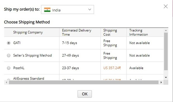 How much time does it take for an order to reach India from