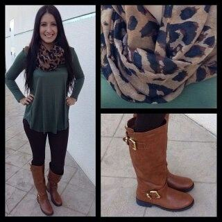 Black dress with brown boots
