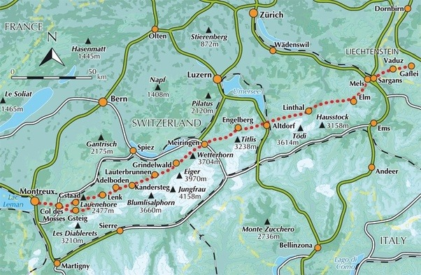 What are a few hiking places in Switzerland that are less advertised