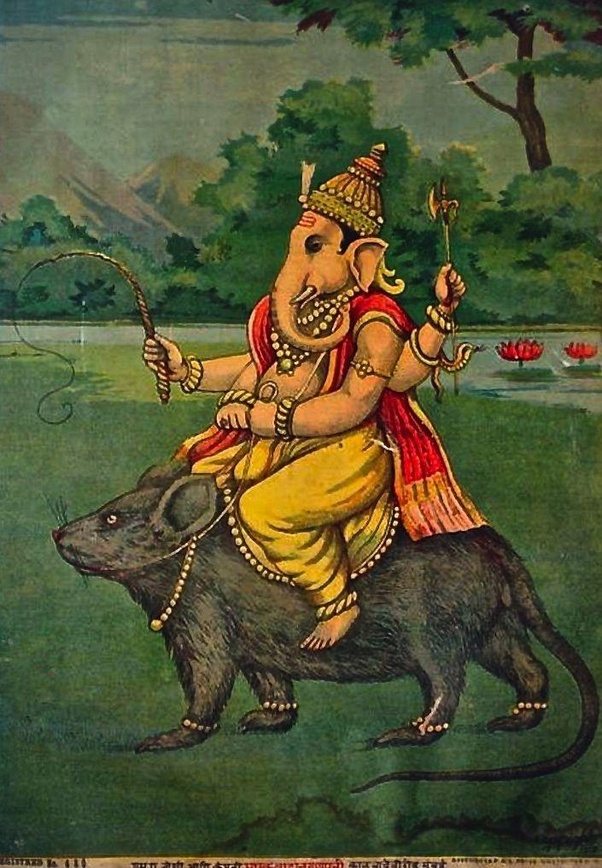 What is the name of the mouse the god Ganesha rides? Do you have any great  images of him? - Quora