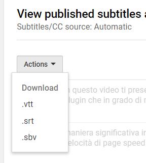 I sottotitoli si possono scaricare in diversi formati