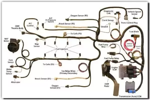 What Is All Of The Wiring Under The Hood Of A Car  Aside From The Upper And Lower Radiator Hose