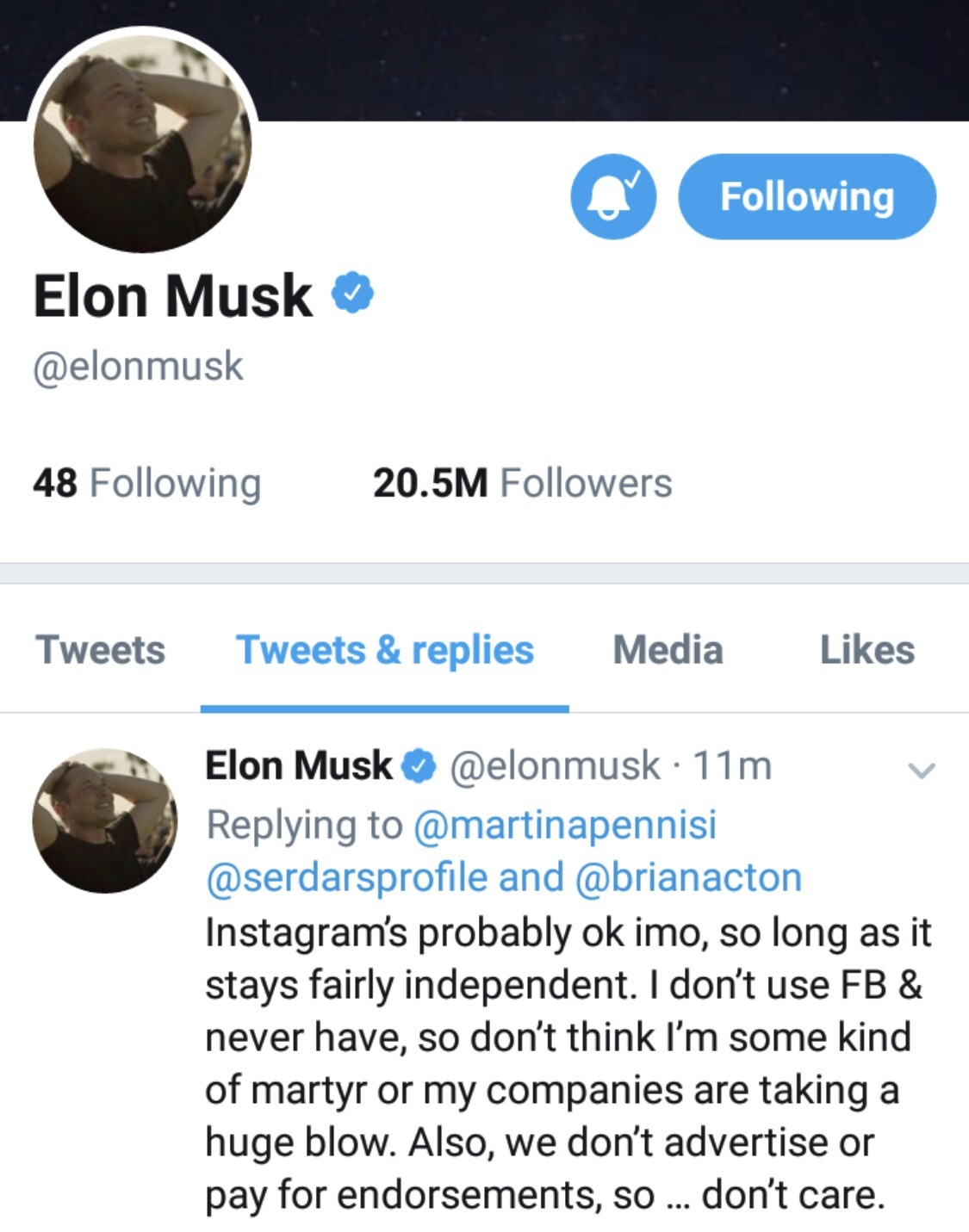 Why did Elon Musk delete his SpaceX Facebook page, and what