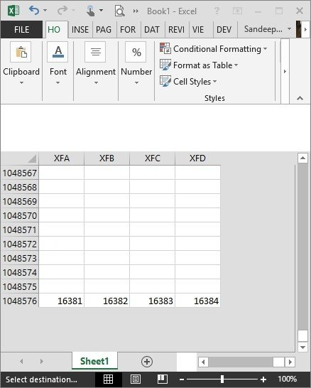 How many rows and columns are in one Excel sheet? - Quora